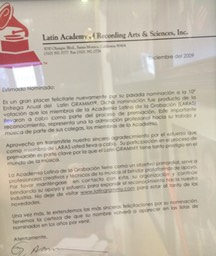 Latin Grammy Carta 2009 No vale la pena
